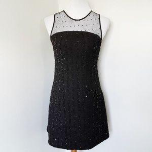 ZARA black mesh sequined cocktail mini dress